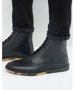 Asos | Черные Кожаные Ботинки На Шнуровке С Камуфляжной Подошвой
