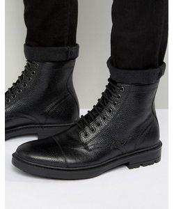 Asos   Черные Кожаные Ботинки На Шнуровке