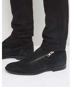 Asos | Черные Замшевые Ботинки Челси На Молнии С Запахом