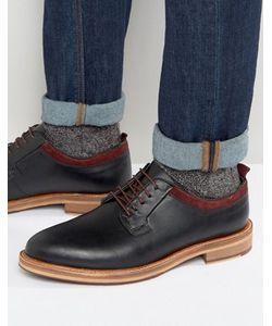 Asos | Черные Кожаные Туфли На Шнуровке С Подошвой Натурального Цвета