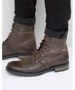 Asos | Коричневые Кожаные Ботинки На Шнуровке С Ремешком Милитари