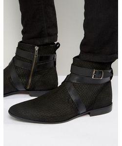 Asos | Черные Ботинки Челси С Ремешком И Змеиной Отделкой