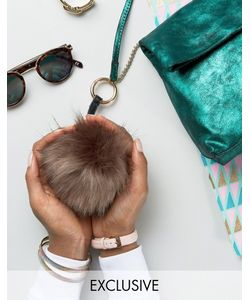 My Accessories | Faux Fur Pom Keyring In