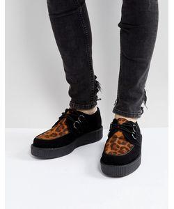 T.U.K | Замшевые Туфли На Платформе С Анималистичным Принтом
