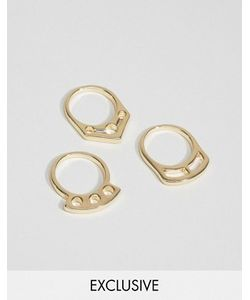 DesignB London | Набор Из 3 Золотистых Колец Геометрической Формы