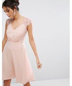 Elise Ryan | Платье Миди С V-Образным Вырезом И Кружевными Рукавами