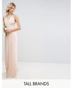 TFNC Tall | Плиссированное Платье Макси С Декорированными Плечами