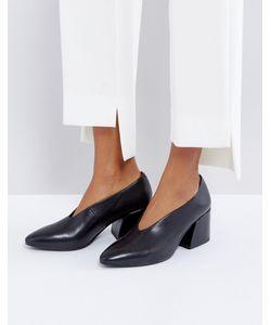 Vagabond | Черные Кожаные Туфли На Среднем Каблуке