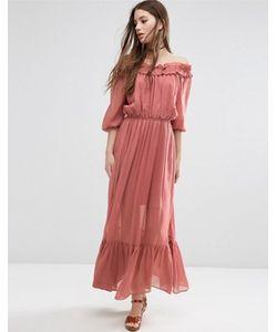 Asos | Платье Макси С Открытыми Плечами И Оборками
