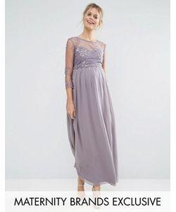 Little Mistress Maternity   Платье Макси Для Беременных С Цветочной Аппликацией