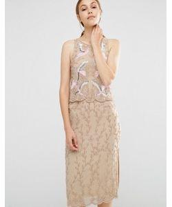 Frock and Frill | Платье-Футляр 2-В-1 С Вышивкой И Отделкой Бисером