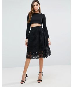 FOREVER UNIQUE | Skater Skirt With Mesh Overlay