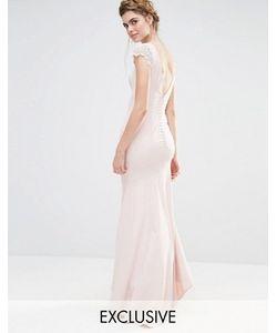 JARLO | Платье Макси С Кружевными Рукавами И Пуговицами Сзади Wedding