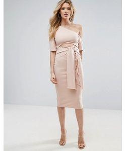 Asos | Платье Миди В Рубчик С Вырезом И Поясом