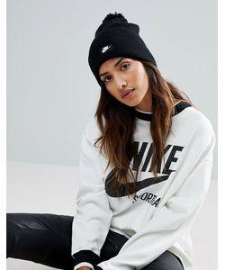 Nike | Черная Шапка-Бини С Помпоном