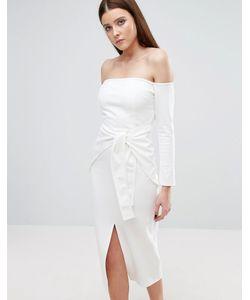 Lavish Alice   Платье Миди С Открытыми Плечами И Поясом
