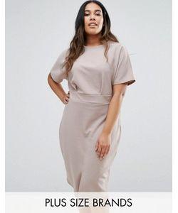 Club L | Платье Миди Размера Плюс С Разрезом Спереди Office