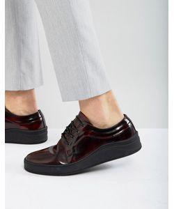 Asos | Кожаные Бордовые Туфли На Шнуровке