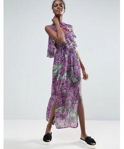 ASOS Made In Kenya   Платье Макси С Крупным Цветочным Принтом И Оборками Made In