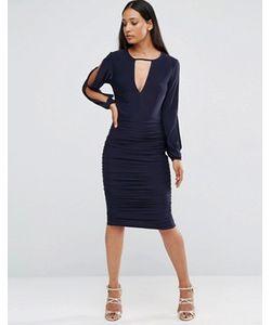 AX Paris | Присборенное Платье С Разрезами На Длинных Рукавах