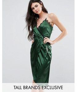 NaaNaa Tall | Асимметричное Атласное Платье Миди С Кружевной Отделкой