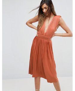 Asos | Платье Миди С Глубоким Вырезом Premium