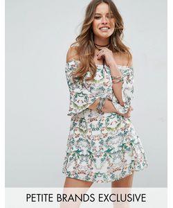 Glamorous Petite | Короткое Приталенное Платье С Принтом Открытыми Плечами И Рукавами Клеш Glamorous