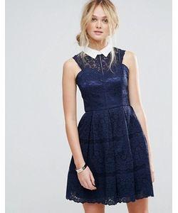 Chi Chi London   Структурированное Кружевное Приталенное Платье С Контрастным Воротом