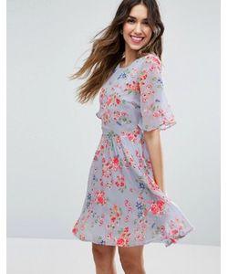 Asos | Короткое Приталенное Платье С Цветочным Принтом И Вышивкой Premium