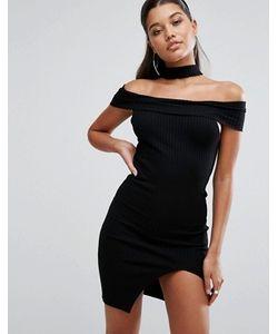 Parallel Lines | Облегающее Платье С Открытыми Плечами И Чокером