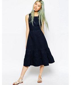 Asos | Темно Джинсовое Платье Миди С Ярусной Кромкой Carmen