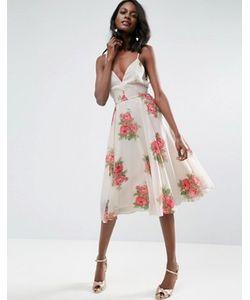 Asos | Платье Миди На Бретельках С Цветочным Принтом
