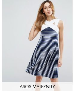 ASOS Maternity | Stripe Mini Skater Dress With Contrast Neck Detail
