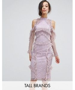 True Decadence Tall | Кружевное Платье Миди С Рюшами И Вырезами На Плечах True Decadence