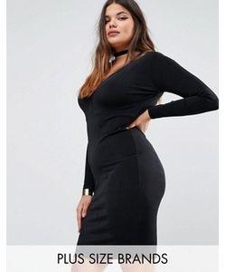 Missguided Plus | Облегающее Платье С Глубоким Вырезом