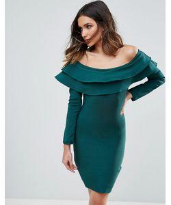 WOW Couture | Бандажное Облегающее Платье Мини С Открытыми Плечами И Оборками