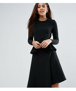 ASOS TALL | Приталенное Платье Миди В Рубчик С Баской