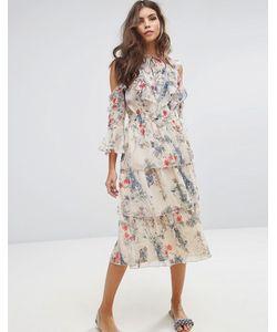 Miss Selfridge | Платье С Цветочным Принтом И Оборками
