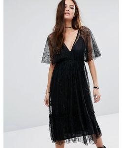 Pull&Bear | Кружевное Платье Миди С Глубоким V-Образным Вырезом