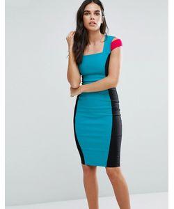 Vesper | Платье-Футляр В Стиле Колор Блок С Открытыми Плечами