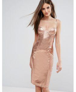 Rare | Блестящее Платье Миди С Декольте И Высоким Воротом London