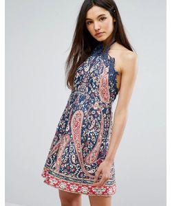 Comino Couture | Короткое Приталенное Платье С Завязкой На Шее И Принтом