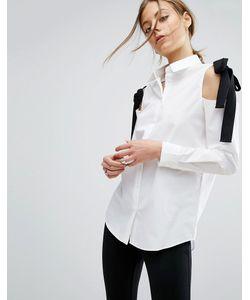 Asos | Хлопковая Рубашка С Вырезами На Плечах И Контрастными Завязками
