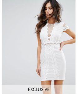 NaaNaa | Сетчатое Облегающее Платье С Кружевной Отделкой