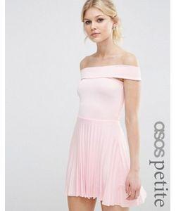 ASOS PETITE | Плиссированное Платье Миди С Открытыми Плечами