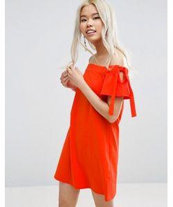 Asos | Платье С Открытыми Плечами И Завязками На Рукавах