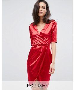 Club L | Атласное Платье Миди С Запахом Спереди