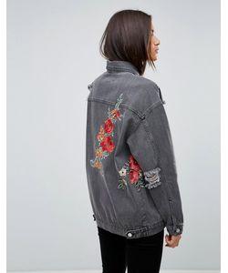 Uncivilised   Джинсовая Куртка С Цветочной Вышивкой