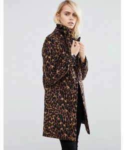 Asos | Пальто Узкого Кроя С Леопардовым Принтом