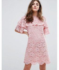 Miss Selfridge | Кружевное Цельнокройное Платье С Оборками